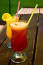 在空白背景的果子cocktail isolated 免版税库存图片