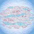 在蓝色背景的 婚的字法 免版税库存照片