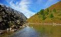 在阿尔泰的山的秋天 库存图片