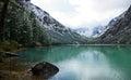 在雪 后的shavlinskoe湖 库存图片