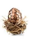 在鸟的巢的一个eurocent鸡蛋 库存图片