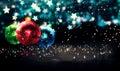 垂悬的中看不中用的物品圣诞节蓝星夜bokeh美丽的 d 免版税库存图片