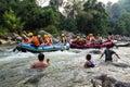 大瀑布在chiangmai, kaeng gued在songkran期  免版税库存图片