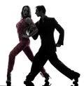 夫妇人妇女tangoing silhou的舞厅舞蹈家 库存图片