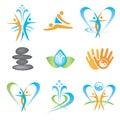 套与温泉的象,按摩,瑜伽,健康标志。 传染媒 例证。 库存照片