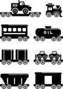 套剪影戏弄在一个平的样式的铁路 免版税库存图片