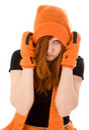 女孩头发的帽子橙红 免版税库存图片