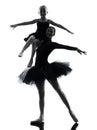 妇女和小女孩芭蕾舞女演员跳芭蕾舞者跳舞silhouett 免版税库存照片