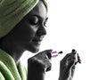 妇女和染睫毛油刷子剪影 免版税图库摄影