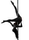 妇女杆舞蹈家剪影 库存照片