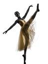 妇女芭蕾舞女演员跳芭蕾舞者跳舞剪影 免版税库存图片