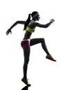 妇女赛跑者连 剪影 库存图片