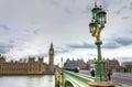 威斯敏斯特桥梁和大本钟 免版税图库摄影