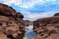山姆平底锅bok大峡谷,惊奇岩石在湄公河 免版税库存图片