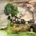 巨型生锈的食物 碎机和工厂 免版税库存图片