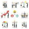 成就处理infographic的企业队 免版税图库摄影