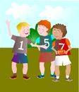 打橄榄球的孩子 库存图片