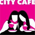抽象咖啡馆女孩 免版税库存图片