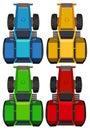 拖拉机顶视图在四种颜色的 免版税图库摄影