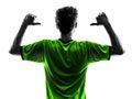 指向si的背面图 象足球足球运动员  人 免版税库存图片