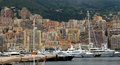 摩纳哥 在口岸赫拉克勒斯的游艇 库存图片