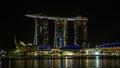 新加坡小游艇船坞日落的海湾全景 免版税库存图片