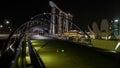 新加坡小游艇船坞海湾全景在晚上 库存照片
