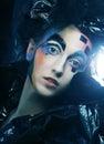暗的美好的哥特式princess halloween当事人 万圣节当事人 图库摄影