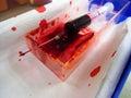 有血液的注射器 库存照片