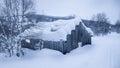 有雪的老谷  库存照片