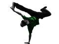 杂技断裂舞蹈家breakdancing的人剪影 免版税库存图片
