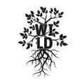 树、叶子、狂放根和的文本 免版税库存图片