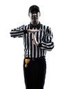 橄榄球裁判员打手势时 现出轮  免版税库存图片
