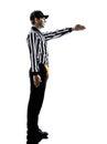 橄榄球裁判员打手势第一下来现出轮  图库摄影