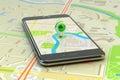 流动gps航海,旅行目的地,地点和安置概念 免版税库存图片