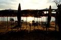 海 日落在芭达亚泰国 库存照片