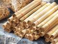 烤的竹糯联接米 图库摄影