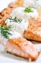 煮熟的三文鱼 库存图片