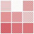 瓦片样式设置了与桃红色和白色格子花呢披肩、条纹和圆点背景 库存图片