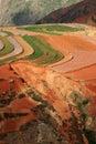 瓷五颜六色的dongchuan农田 库存图片