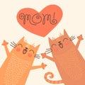 甜卡片为与猫的母亲节 库存图片