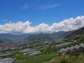 甲府盆地风景在山梨,日本 免版税库存照片