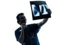 电话审查的肺躯干的x外科 生放射学家 图库摄影