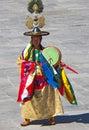 的服装的鼓舞蹈家在wangdue tshechu节日 免版税库存图片