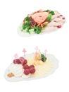 盘和食物在服务的桌上 免版税库存照片