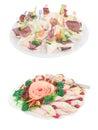 盘和食物在服务的桌上 免版税图库摄影