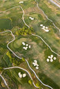 空中路线高尔夫球视图 免版税图库摄影