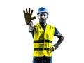 筑工人中止姿态安全背心剪影 库存照片