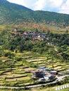 米大阳台的看法在不丹的乡村 库存照片
