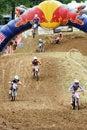 红公牛摩托车越野赛竞争 免版税库存图片